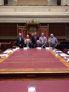 Mr William Hay MLA welcomes AMH CEO David Babington and AMH clients to the Senate