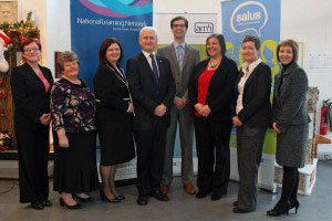 (L-R) Micheal McDaid, Information Officer for Derry/Donegal, Salus Project; Margaret Farrelly, Clonarn Clover & Guest Speaker; Miriam McQuaid, Area Manager National Learning Network Cavan/Monaghan; David Babington, Cheif Executive Action Mental Health; Declan McGarigle, SEUPB Case Officer; Pauline O'Hagain, Information Officer Fermanagh/Cavan Salus Project; Siobhan Wallace, Salus CorOrdinator and Audrey Allen, Head of Operations AMH