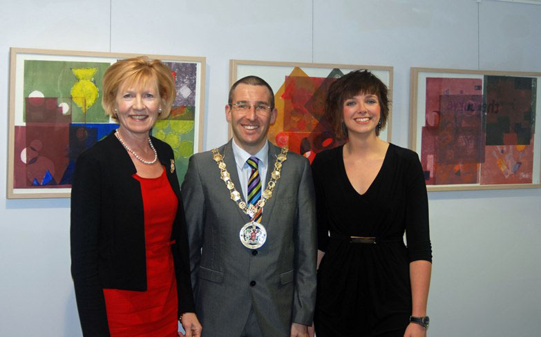 L-R Lady Hermon, Mayor of North Down Cllr Andrew Muir and Creative Skills Tutor at AMH Jenna Stevenson