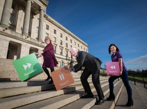 Making the big push to resolve Mental Health Service Provision - Chair of the Health Committee Maeve McLaughlin MLA, AMH Chief Executive David Babington and AMH Communications Officer Amy Black.