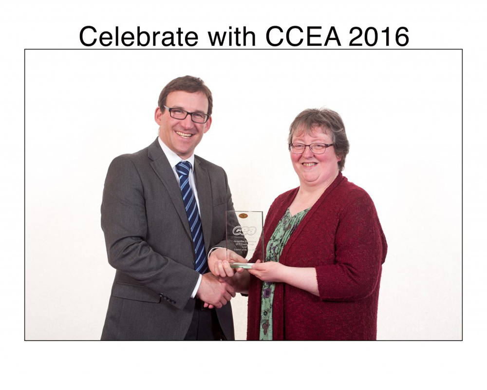 CCEA Chief Executive Justin Edwards congratulates Jacqueline
