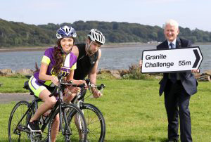 Press Eye - Action Mental Health - 30th August 2016 Photograph By Declan Roughan AMH Chief Executive David Babington, cyclist Row Quinn and Miss NI Emma Carswell.