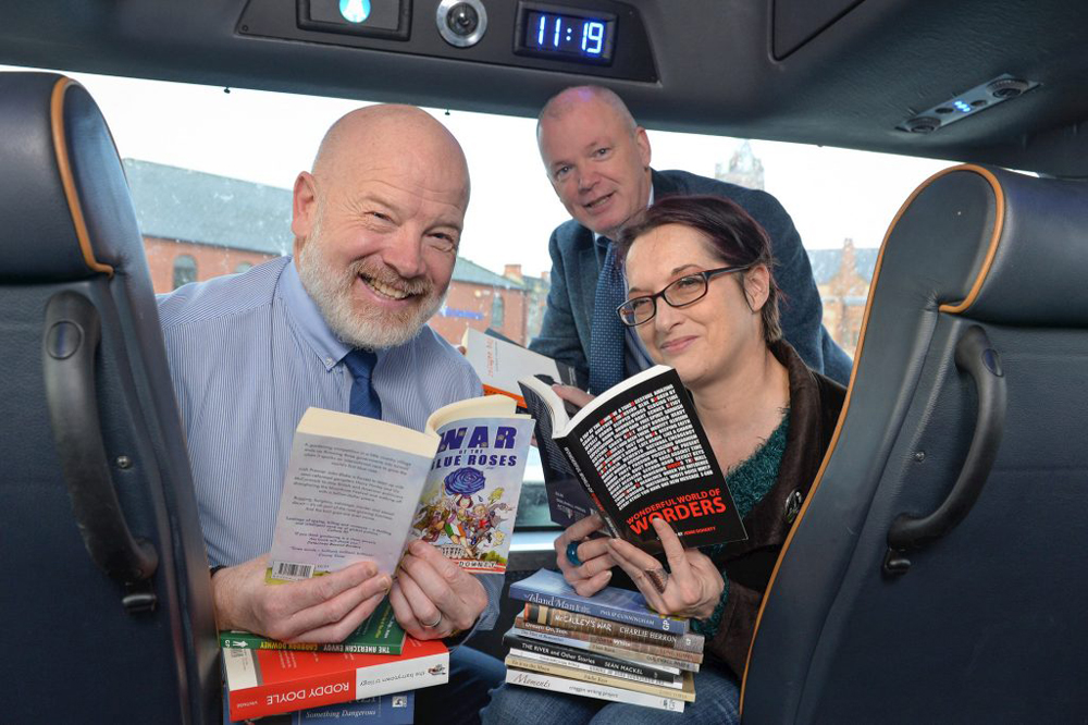 L-R Alan Young Translink, Mickie Harkin Action Mental Health, and Jenni Doherty Little Acorns Book Store/Guild Hall Press. Photo by Aaron McCracken/Harrisons