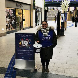 Emma helping out at a recent collection in Victoria Square.